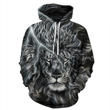 2019 Men/Women  3d Sweatshirts Tracksuits Tops Print Golden Lightning Lion Hooded Hoodies Thin Hoody harajuku streetwear
