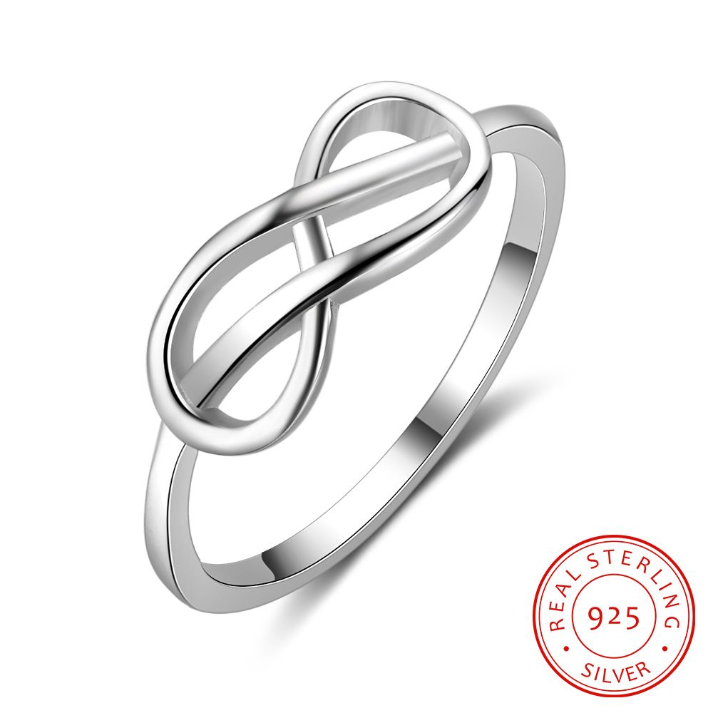 925-Sterling-Silver Rings Infinity-Shape Wedding-Engagement Jewelry-Accessories Gift