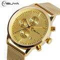 YISUYA Date-day Golden Stainless Steel Mesh Iron Hook Buckle Quartz Watch Men's Business Wrist Watches Male Wristwatches 2017