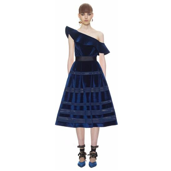52b39320a8a Self Portrait Dress 2018 Spring Sexy Elegant One Shoulder Deep Blue Party  Dress Ruffles Velvet Midi