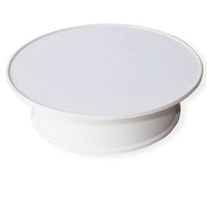 Image 1 - White Velvet Top Motorized 360 Degree Jewelry Display Stand By Battery Rotation Turntable