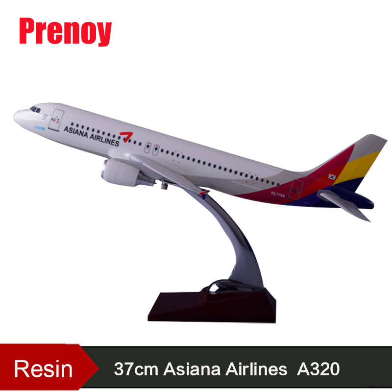 Prenoy 37cm Resin Asiana Airline Aircraft Model A320 Airbus Airplane Model Airway Asiana A320 International Aviation Plane Model hongkong agency pixel to buy aircraft commercial airline fleet planning commercial jetliners plane model hobby