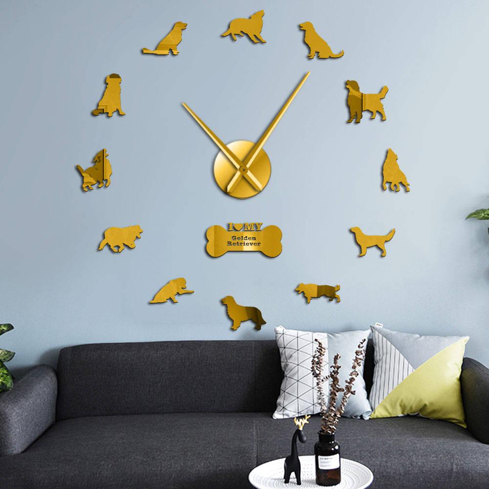 Golden Retriever Dog Silent Quartz DIY Wall Clock Retriever Canine Puppy Pet Self Adhesive Clock Watch Fashion Home Decoration