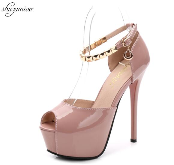 93a25f1a3dc1 Women 2018 Summer Sexy Metal type Cingulate Sandals 14CM Super Heel fine heel  Waterproofing Night Shop Fish Mouth Shoes-in High Heels from Shoes on ...