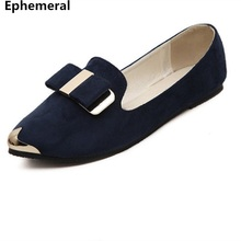 Women shoes flats breathable slip-ons pointed toe sequined bow loafers spring big size 41 40 blue wine black 2017 new fashion