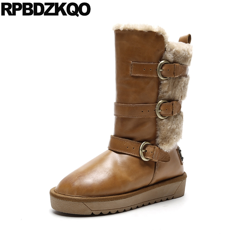 Brown Furry Shoes 11 Real Fur 10 Flat Belts Big Size Winter Snow Boots Waterproof Slip On Women Genuine Leather Luxury Mid Calf yub brand waterproof rain boots for women with solid color slip on winter mid calf shoes for girls
