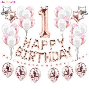 Image 1 - Cartel de Globo de oro rosa de primer cumpleaños para niños y niñas decoración de fiesta de 1 año, guirnalda para niños y niñas, suministros azules