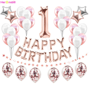 Image 1 - First Happy Birthday Rose Gold Balloon Banner My 1st 1 One Year Party Decorations Kids Baby Boy Girl Adult Garland Supplies Blue