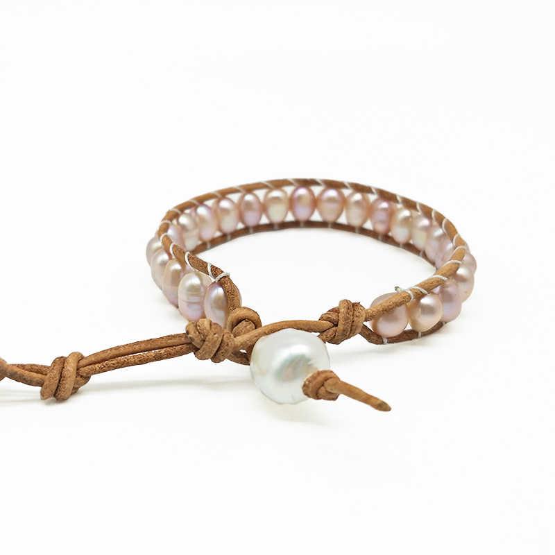 Nowa moda ręcznie pleciona bransoletka niestandardowe różowy naturalny hodowlane perły bransoletka BOHO piękna biżuteria dla kobiet