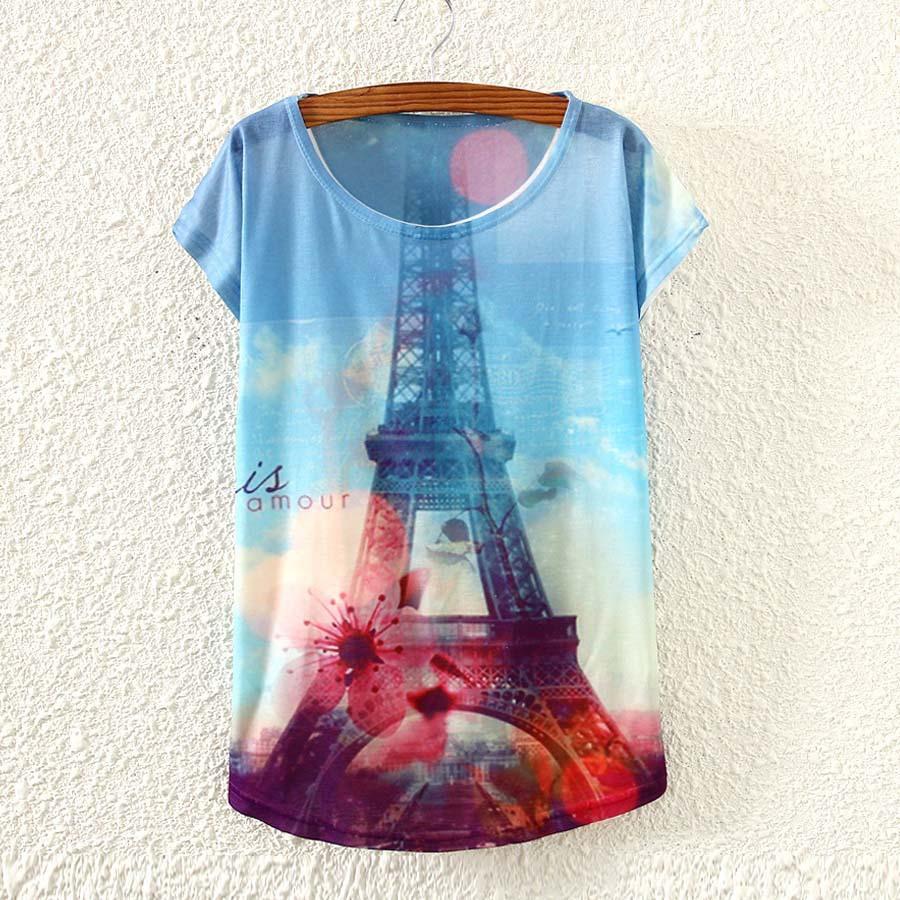 Design your own t shirt dress - 3d Eiffel Tower Printed T Shirt Women S Summer Dress 2015 New Designer Short Sleeve Top