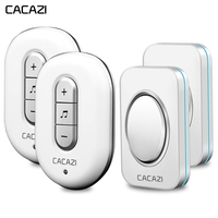 CACAZI Wireless Doorbell Waterproof 2 Battery Button 2 Receiver 280M Remote US Plug Smart Home Cordless door bell 48 chimes