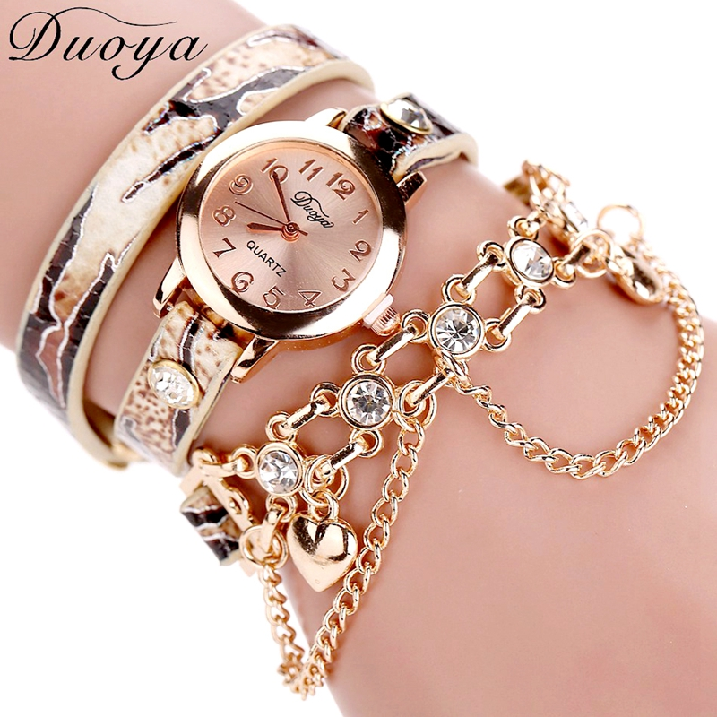 Duoya Brand Watch Women Leopard Luxury Band Bracelet Quartz Braided Winding Wrap Beige Long Chain Female WristWatch mance ladies brand designer watches luxury watch women 2016 crystal rivet bracelet braided winding wrap quartz watches quality