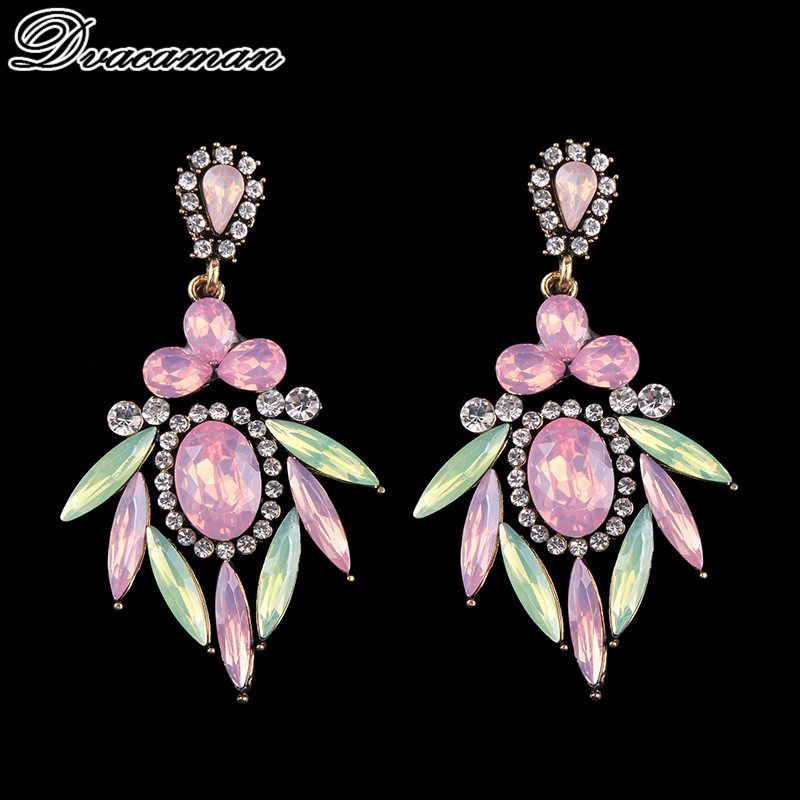 Dvacaman Fashion Pinky Color Statement Earrings Long Luxury Drop Dangle Earrings For Women Wedding Bridal Jewelry Party Gift