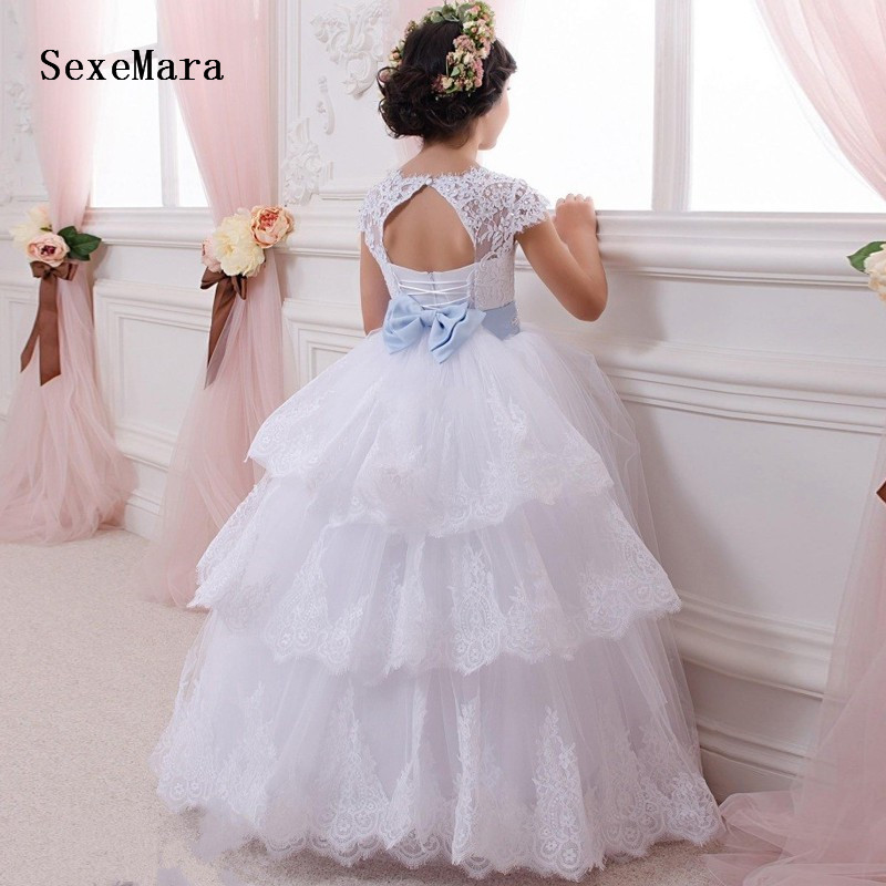 Flower     Girl     Dresses   2019 White Lace Applique Puffy Tulle Communion   Dresses   for   Girls   Ball Gowns with Ribbon Custom Made Size
