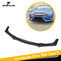 Carbon Fiber / PU Black Front Bumper Lip Spoiler Body Kit Case for Honda for Civic 10th Type R 2016 2017 American Version