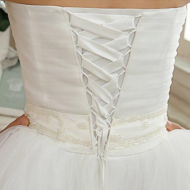 2017 New Arrival Real Photo Plus size Strapless Pearls White Princess Wedding Dresses Cheap Bride Frock Vestidos De Novia HS103 6