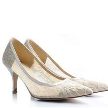 Handmade Sexy Spitze Hochzeitskleid Schuhe Brautschuhe High Heel Party Club Schuhe Ausgeschnitten Stiletto Pumps