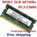 Пожизненная гарантия Для hynix DDR2 2 ГБ 667 МГц PC2-5300S Оригинальной аутентичной DDR 2 2 Г ноутбук памяти Ноутбука RAM 200PIN SODIMM