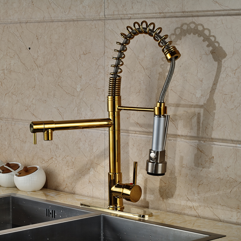 Gold Finished Deck Mounted Swivel Spout Kitchen Sink Faucet Pull Out Mixer Tap With Cover Plate newly arrived pull out kitchen faucet gold sink mixer tap 360 degree rotation torneira cozinha mixer taps kitchen tap