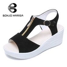 Bonjomarisa reißverschluss frauen sandalen high heel keil sommer schuhe frau offene spitze plattform damen schuhe