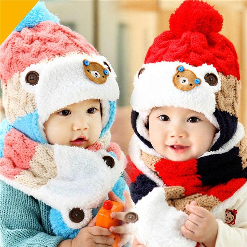 Baby Winter Hat Baby Boys Girls Cartoon Knit Earflap Hat Newborn Striped Woolen Hats Infant Warm Beanies Caps + Scarf Twinset
