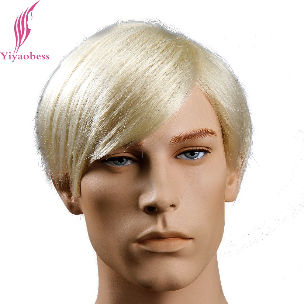 Yiyaobess 6inch Heat Resistant Synthetic Mens Blonde Wig Short Straight Hairstyles Free  ...
