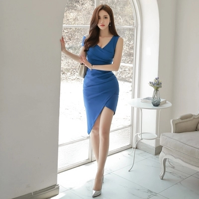 2018 New Fashion Women Summer Style Sexy Club Bodycon Dress Sleeveless Party blue 0922 Dresses