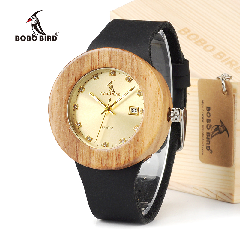 BOBO BIRD Round Vintage Women's Design Brand Luxury Gold Wooden Bamboo Watches With Leather Quartz Watch And Date relojes marea серьги топаз сhantal серьги топаз