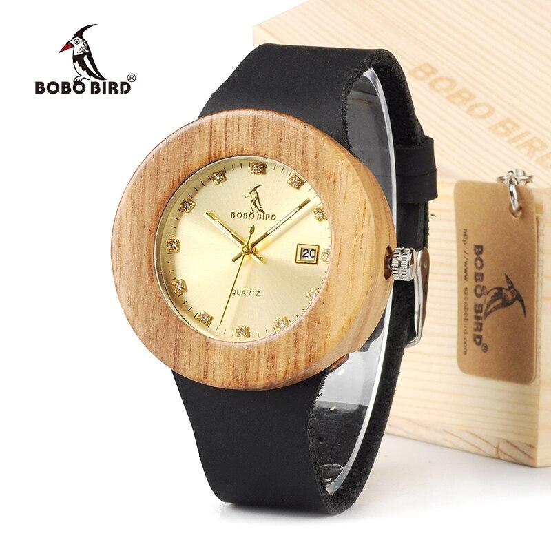 5635fb0d8a BOBO BIRD ronda mujeres de diseño de marca de lujo oro madera de bambú con  relojes de cuero reloj de cuarzo y fecha relojes marea