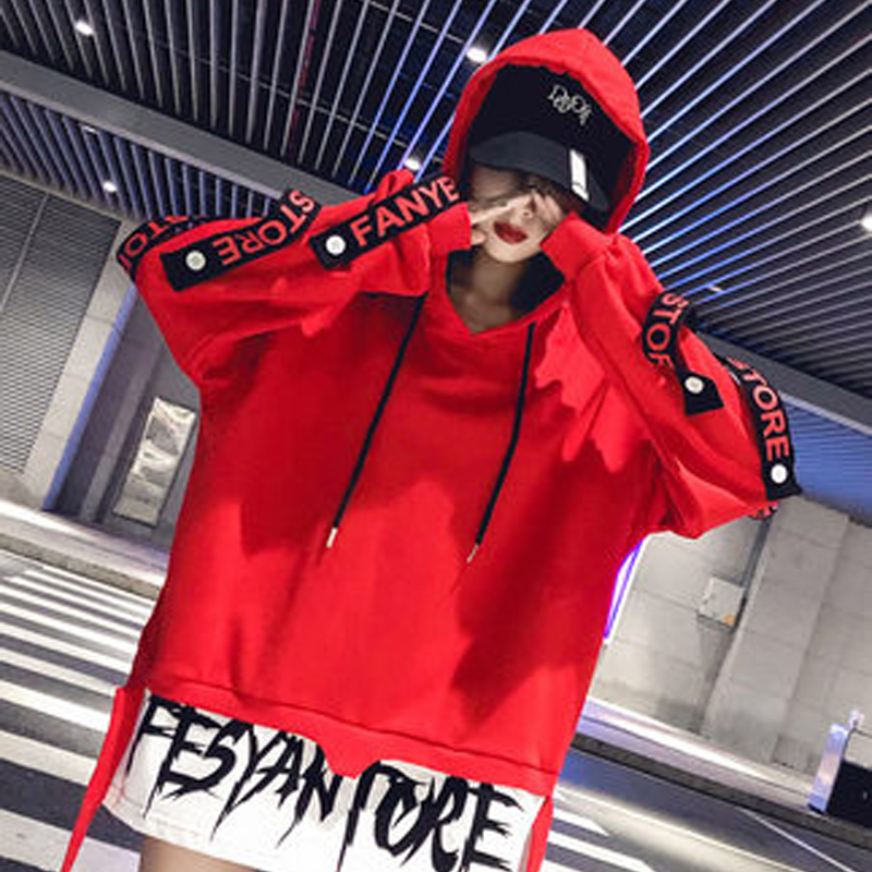 WomenHip Hop Design Letter Patchwork Design Pullovers Street Wear Asymmetrical Hooded Sweatshirts Harajuku Red Long Hoodies