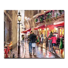 Street Lover Building Landscape DIY Painting By Numbers Kits Hand painted Oil Unique Gift Modern Home Decoration Wall Artwork