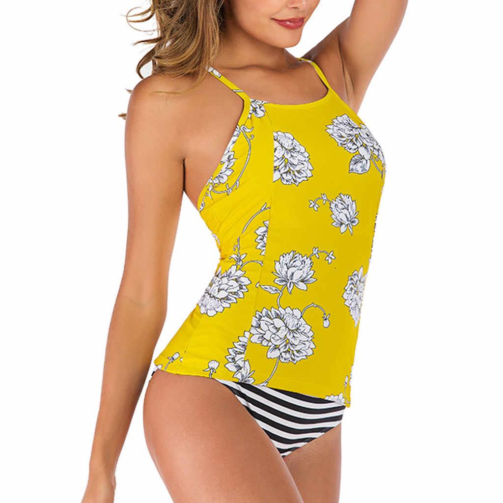 Bộ đồ bơi người phụ nữ năm 2019 hai mảnh Nữ Tankini Bộ Với Đồ Bơi Nữ Push-Up Dây Có Đệm lớn kích thước biquini Bikini họa tiết xe tăng