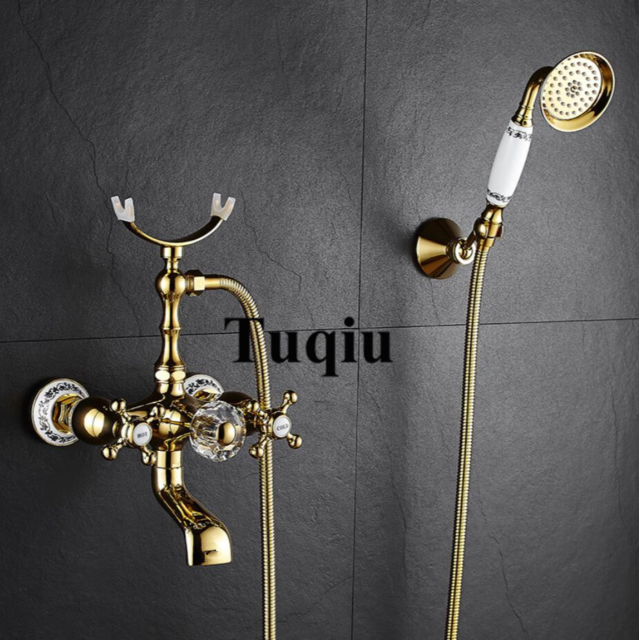 Shower Faucet Brass Polished Gold Bathtub Faucets Hand Rain Shower Head Tap Luxury Ceramic Telephone Wall Bath & Shower Faucet Shower Faucet Brass Polished Gold Bathtub Faucets Hand Rain Shower Head Tap Luxury Ceramic Telephone Wall Bath & Shower Faucet