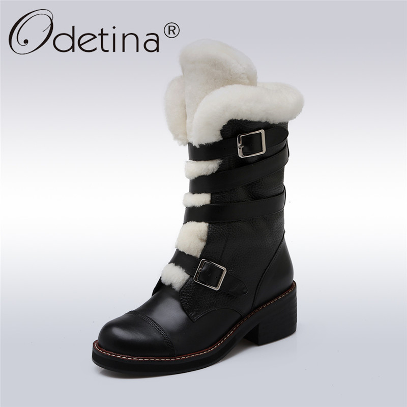Odetina 2017 New Luxury Winter Women Genuine Leather Snow Boots Thick Fur Black Wool Boots Chunky Heel Mid Calf Boots Warm Shoes bacia 2017 women winter boots casual super comfortable genuine leather boots female black warm wool fur shoes size 36 41 mb019