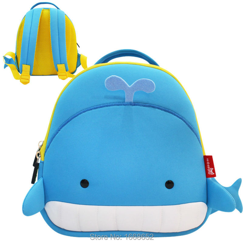 ad19f9644368 Waterproof Whale Children School Bags Neoprene For Kids Cartoon 3D Animals  Kids Baby Bags 45 Tags