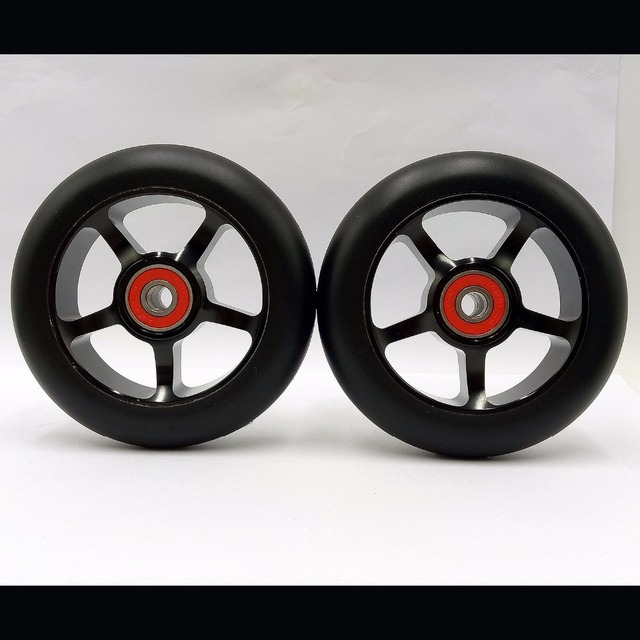 2 Wheels Freestyle Stunt Scooter 100mm Wheels With High elastic Wear-resisting PU 608 ABEC-9 Bearings 88A Roller Ski Wheels