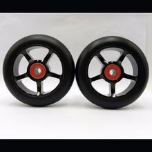 2 roues! livraison gratuite! épais PU haute qualité stunt scooter roues/roue skis à roulettes/scooter roues 100mm/ABEC-9 roulements