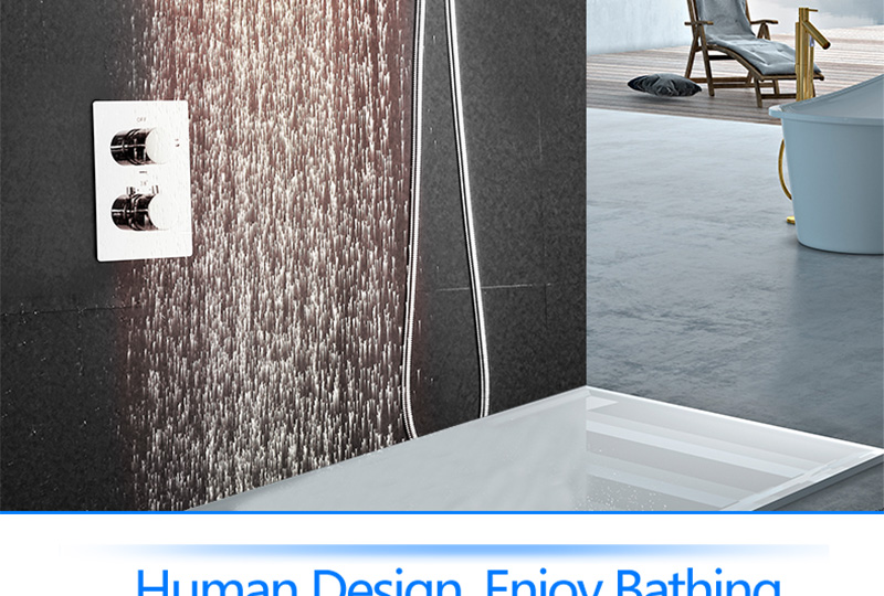 DCAN 10 Rainfall Shower Head System Polished Chrome Bath Wall Mounted Shower Faucet Bathroom Luxury Rain Mixer Shower Combo Set (7)