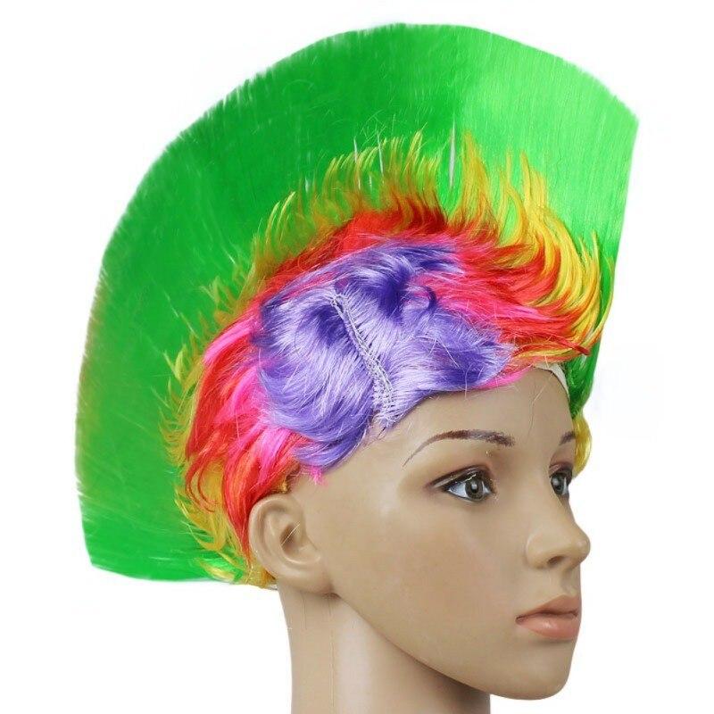 Hot Rainbow Mohawk Hair Wig Fancy Costume Punk Rock Wigs Halloween Cosplay Party 5