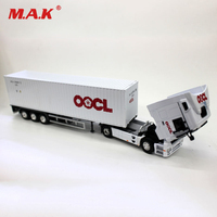 1/50 OOCL Diecast Container Truck Alloy Transport Car Vehicles Lorry White Model Toys for Fans Boys Children Collection Gift