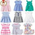 Algodón del verano del bebé infant toddler girl dress dress pañal set children summer casual dress ropa stripe froral 3-24 m