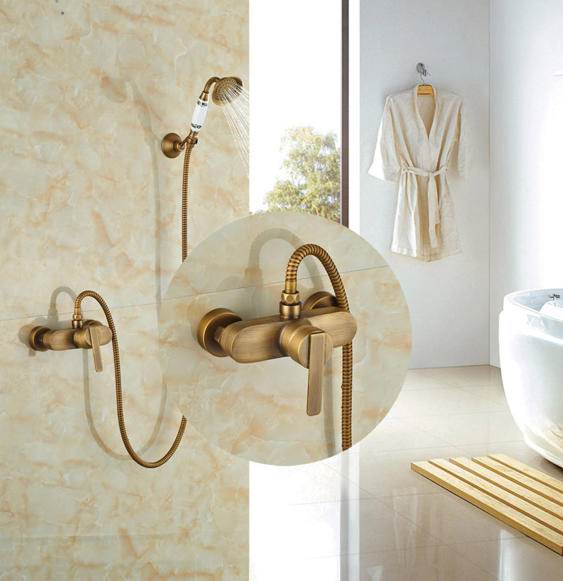 ₩Wall Mounted Antique Brass Shower Set Single Lever With Hand Shower ...