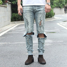 Cool Mens Hip Hop Jeans Skinny Pencil Men Kanye West Denim Pants Destroyed Distressed Ripped Jeans With Holes For Men