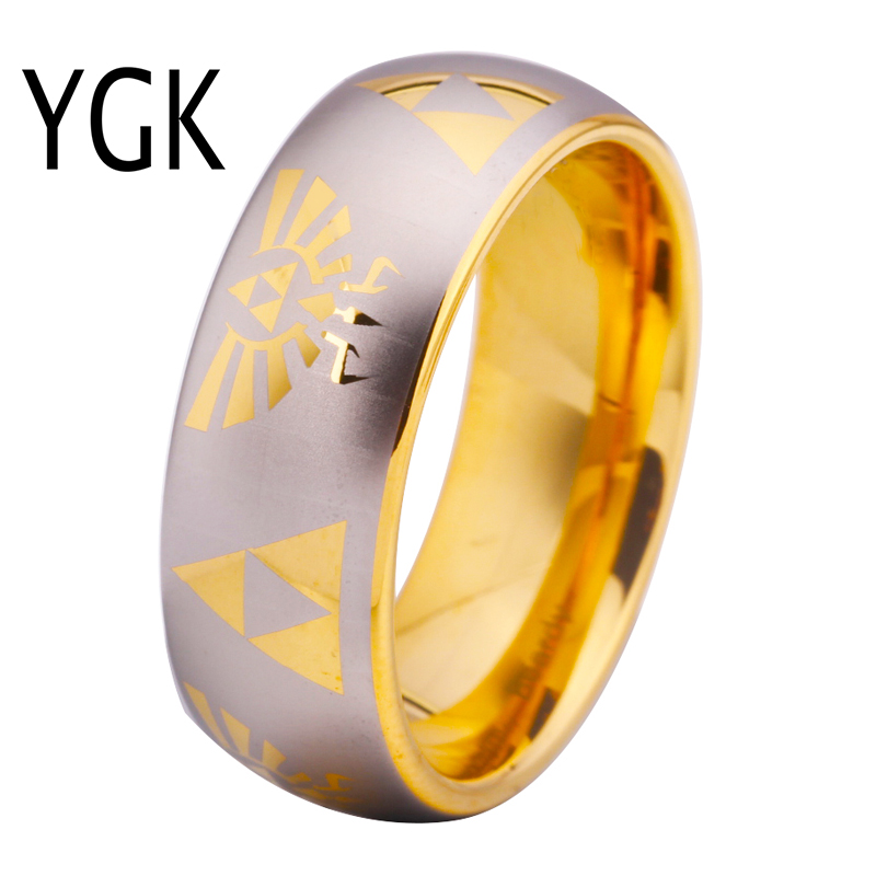 Free Shipping USA UK Canada Russia Brazil Hot Sales 8MM Golden Dome Comfort Fit Legend of Zelda New Men's Tungsten Wedding Ring free shipping touch switches for hotel room lights dc5v dc12 24v input 2ch switch dimmer popular australia canada usa brazil