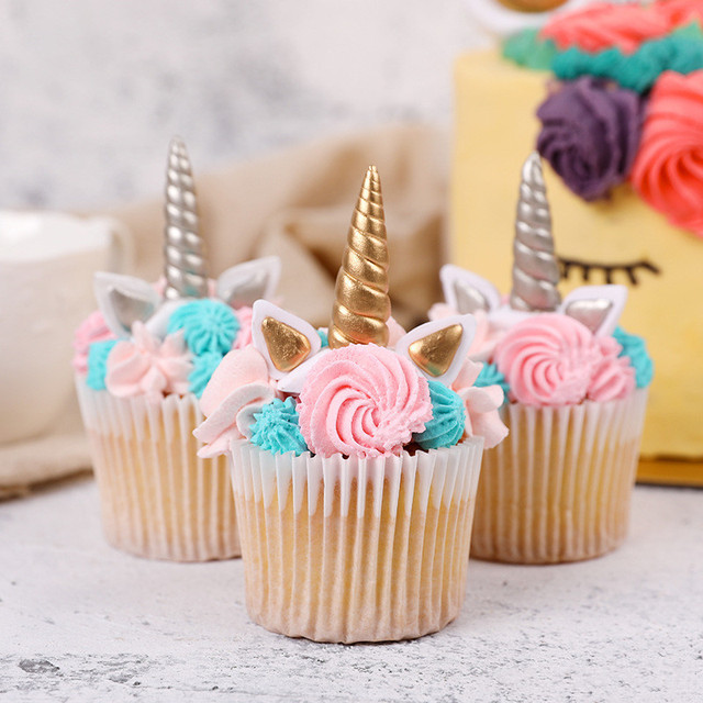 Small Unicorn Horn Birthday Cake Decor Birthday Party Decoration