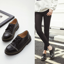 Shoes Women Autumn oxford feminino 2016 British Preppy Style Flat Heels Round toe Lace Up Casual Oxford female shoes Black 39