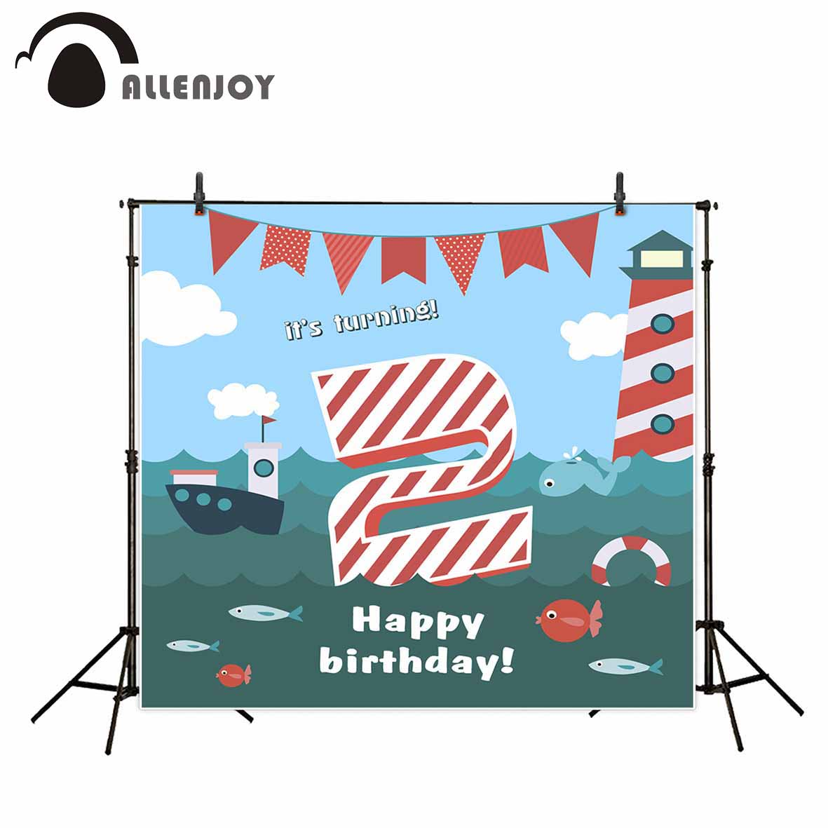 Allenjoy photography backdrops ocean theme lighthouse banners birthday backdrop sea wave photographic background decorations