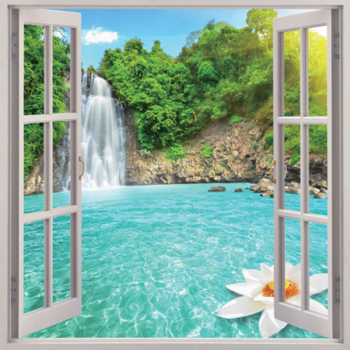 Wall Sticker Home Decor Wall Mural Waterfall Garden Window View Wall Decal Domed Window Decal 3D Window Scape Wall Decor Instant View
