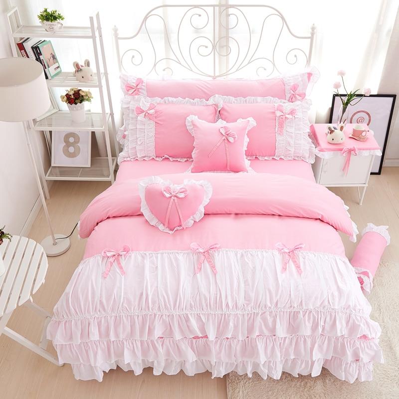100% القطن الوردي الأرجواني الملك الملكة التوأم واحدة مزدوجة حجم الفتيات طقم سرير الكشكشة مجموعة السرير الكوري ملاءات مجموعة غطاء لحاف-في مجموعات الفراش من المنزل والحديقة على  مجموعة 1