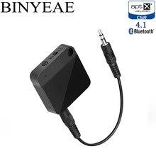 Binyeae estéreo Bluetooth 4.1 Aptx baixa latência 2 em 1 casa TV Transmissor Receptor de Áudio Adaptador de Áudio Sem Fio Handsfree Car kit